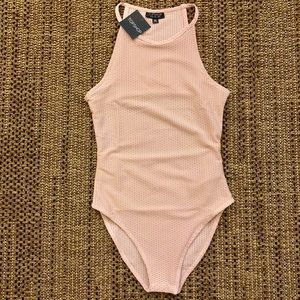 NWT TOPSHOP Nude Pink Bodysuit Size US 4